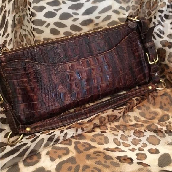 ccbfdddae6b4 Brahmin Handbags - Brahmin Dark Brown Croc Embossed Bag w Dustbag